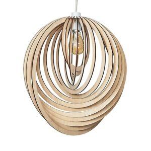 MiniSun Ceiling Light Shade - Natural Wooden Spiral Pendant Living Room Lighting