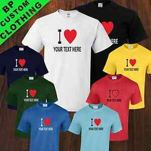 New Personalised I Love TShirt, Name, Place Or Game, 8 colours, Sizes From S-5XL