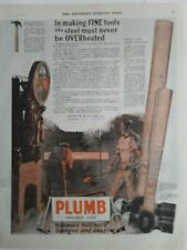 1919 Plumb double life hammers Hatchet sledges axes vintage tool color ad
