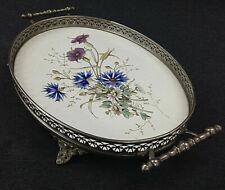 Wächtersbach Tablett Servierplatte alt Keramik Metall Montur Kornblume Floral