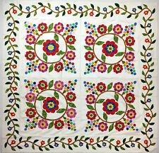 Hand Applique Floral Cox Combe QUILT TOP - Unique Playful design