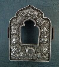 Superb Antique Tibetan Buddhist Silver Gau Reliquary Portable Shrine Prayer Box