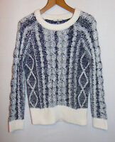TU Womens Jumper Cable Knit Black & White Autumn Winter Size 12