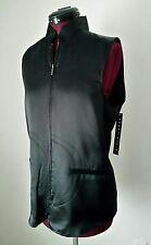 NWT Perry Ellis Ladies Size 8 Black 100% Silk Padded Zippered Vest Retail $98