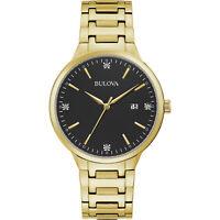 Bulova Men's Quartz Diamond Accent Gold-Tone Calendar Date 40mm Watch 97D122