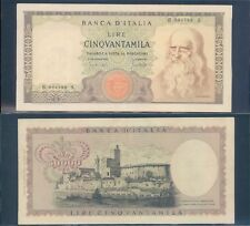 """REPUBBLICA ITALIANA 50.000 LIRE """"LEONARDO""""DEC.19/07/1970 STUPENDO RARO 3  A."""