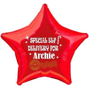 """Christmas Elf arrival Balloon PERSONALISED foil 20""""star xmas Special Delivery"""
