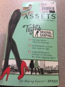 SIZE 1 Spanx Assets Original Shaping Tights Built In Shaper Short BROWN New 158B