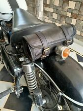Motorcycle Goat Leather Black Front Fork Luggage Saddle Bag Storage Tool Pouch