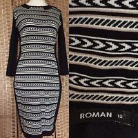 """ROMAN Black White IKAT Print Jumper Dress Sz 12 L37"""" KNIT Jersey BUSINESS B10"""