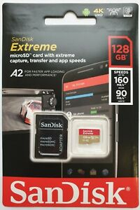 SanDisk 128GB Extreme Micro SD SDXC Memory Card V30 A2 Class 10 4K + SD Adapter