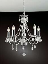 A1A9 Traditional 5-lights Crystal Hanging Chrome Finished Chandelier