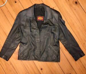 Vintage G Armani Collection Ladies Black Leather Jacket/Blazer. Size 'S'