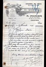 """CHARTRES (28) EPICERIE & VINS """"R. POIRIER"""" en 1927"""