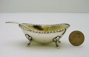 Frank M. Whiting & Co. Sterling Silver Master Salt on Four Hoof Feet & Spoon