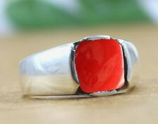 Solid 925 Sterling Silver Red Coral Gemstone Statement Mens Ring Size 6 to 14