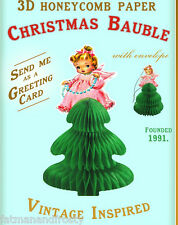 CHRISTMAS CARD CHRISTMAS TREE ORNAMENT BAUBLE Angel Fairy Christmas Tree Vintage