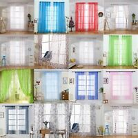 Valances Tulle Voile Door Window Curtain Drape Panel Sheer Scarf Divider Curtain