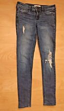 Hollister Skinny blue jeans Juniors Womens Size 3 reg low rise distressed