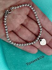 Tiffany & Co Return To Tiffany Silver Blue Enamel Mini Heart Tag Bead Bracelet