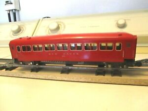 """AMERICAN FLYER "" # 650 RED ILLUMINATED NEW HAVEN PASSENGER CAR S-GAUGE"