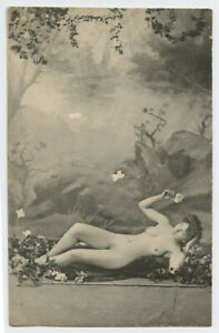 c 1902 French Risque / Nude LOVELY LADY early undivided back photo postcard