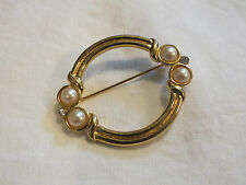 Beautiful Brooch Pin Gold Tone Faux Pearl Cabochon Clear Rhinestones Sign MONET