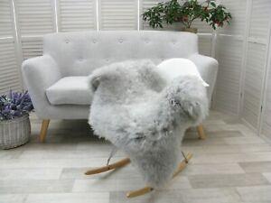 Real Grey British single sheepskin rug dyed Throw Chair Sofa Floor Cover #233