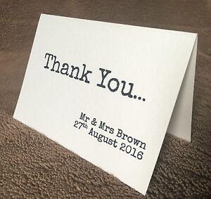 10 x Personalised Wedding Thank You Cards. Samantha