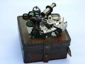 NAUTICAL SOLID BRASS SEXTANT WITH HANDMADE LEATHER CASE-MARINE ASTROLABE GIFT-