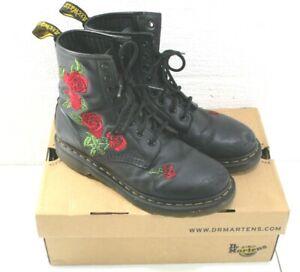Women's Dr Martens AirWair Vonda Size 9 Black Combat Boots Red Rose Floral 8 Eye