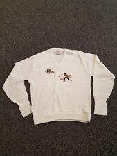 "Vintage  ""TENNIS"" Sweater Large**White embroidered Tennis Players MADE IN USA"