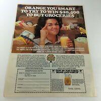 VTG Retro 1983 Pure Florida Orange Juice & Sweepstakes Entry Print Ad Coupon