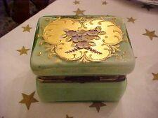 Italian green Opaline cased glass jewelery casket with applied flowers