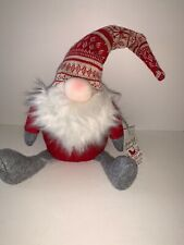 Sleigh Hill Trading Co. Decorative Christmas Fabric Gnome Red/White/Gray Nwt