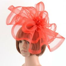 Red Lady Gift Hair Clip Hat Fascinator Wedding Ascot Races Flower Handmade Large