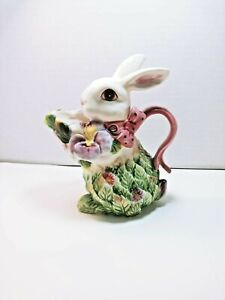 Ceramic Bunny Flower Creamer Corner Ruby Spring Collection