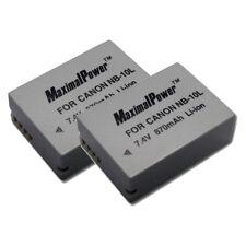 MaximalPower 2PC Battery for CANON NB-10L PowerShot G15 G16 SX40 HS Camera