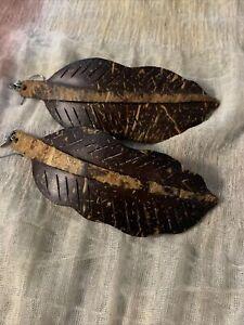 Wooden Leaf Earrings