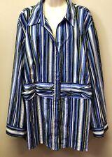 New Women's Plus 3X Maggie Barnes Blouse Blue Black White Metallic Stripe Top