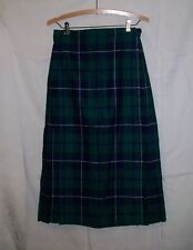 Deans of Scotland Tartan Plaid 100% Wool Kilt Skirt  EUC 12 26-28 waist