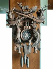 Vintage 2-tune German Carved Black Forest Musical Automaton Cuckoo Wall Clock