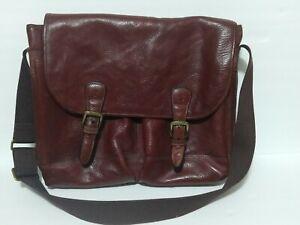 Timberland Italian Vacchetta Leather Briefcase VTG Messenger Saddle Bag Brown