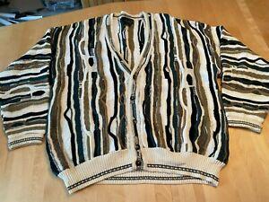 Vtg 90s J. Ferrar Coogi Style Sweater Cardigan Knit Tan Blue Men Sz XL