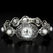 Sterling Silver 925 Antique Design Button Pearl and Marcasite Watch 7 Inches