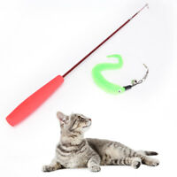 Kitten Pet Teaser Turkey Feather Interactive Fun Toy Wire Chaser Wand For Cat TO