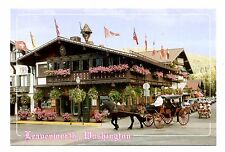 Leavenworth Washington Postcard Bavarian Village Horse Carriage Flags New Buggy
