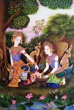 "Thai Drawings POSTER 23""x34"" Women Literature Kinnaree Manora Painting Siam 1"
