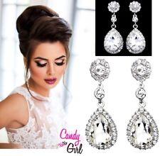 Silver Crystal Diamante Long Drop Dangle Rhinestone Bridal Wedding Earrings