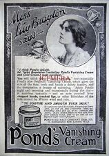 Small 1921 Pond's Vanishing Cream 'Miss LILY BRAYTON' AD - Original Print ADVERT